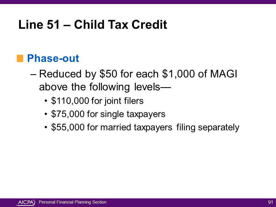 Line 51 – Child Tax Credit Phase-out