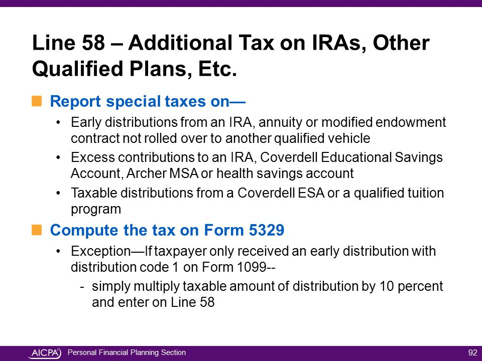 Line 58 – Additional Tax on IRAs, Other Qualified Plans, Etc.