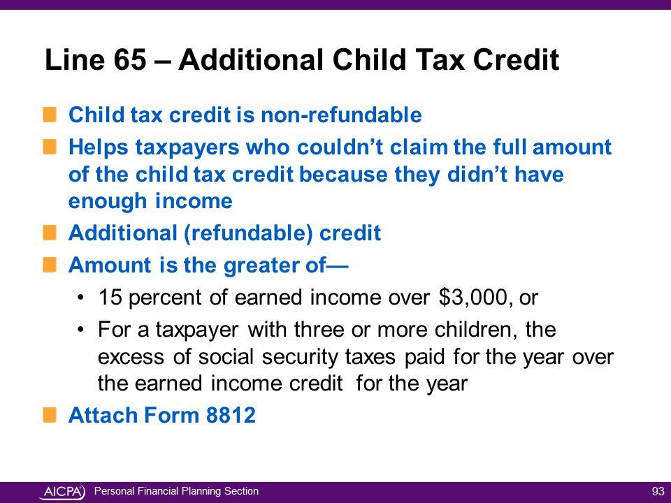 Line 65 – Additional Child Tax Credit