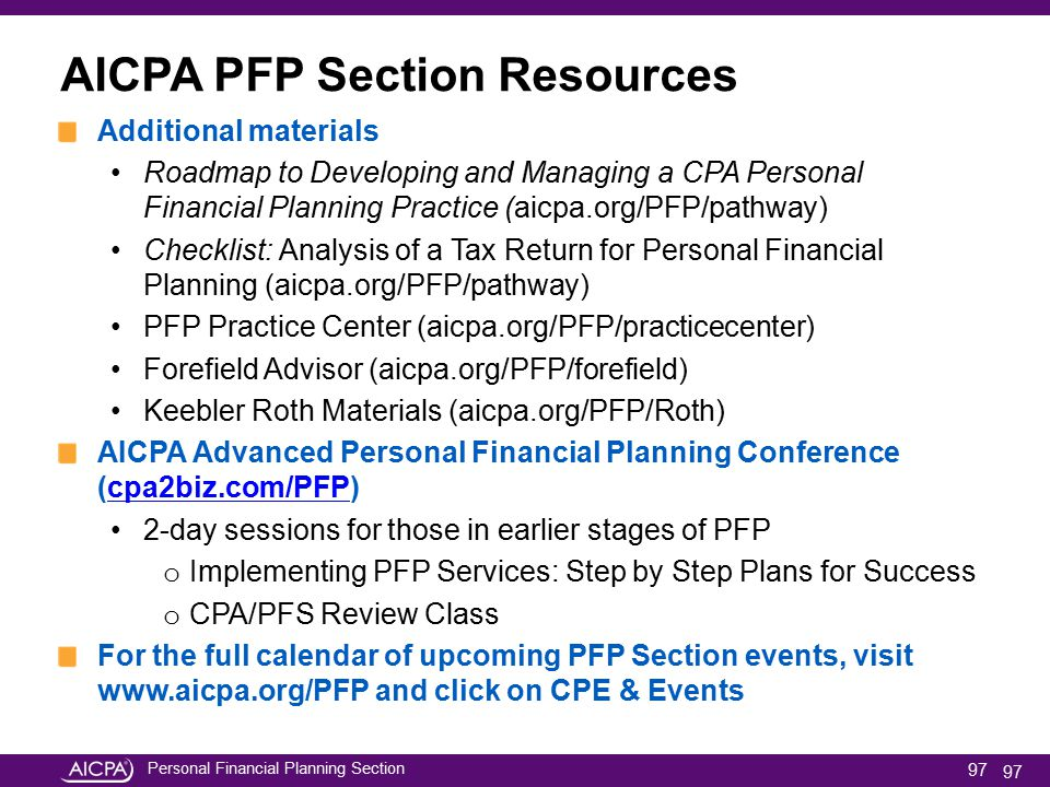 AICPA PFP Section Resources