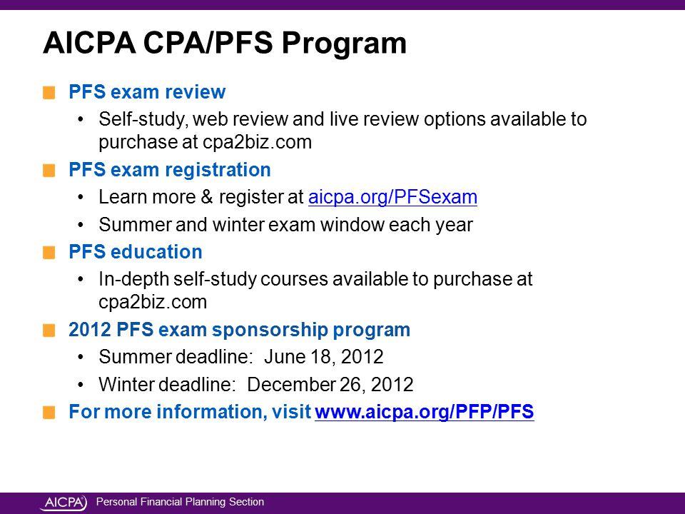 AICPA CPA/PFS Program PFS exam review