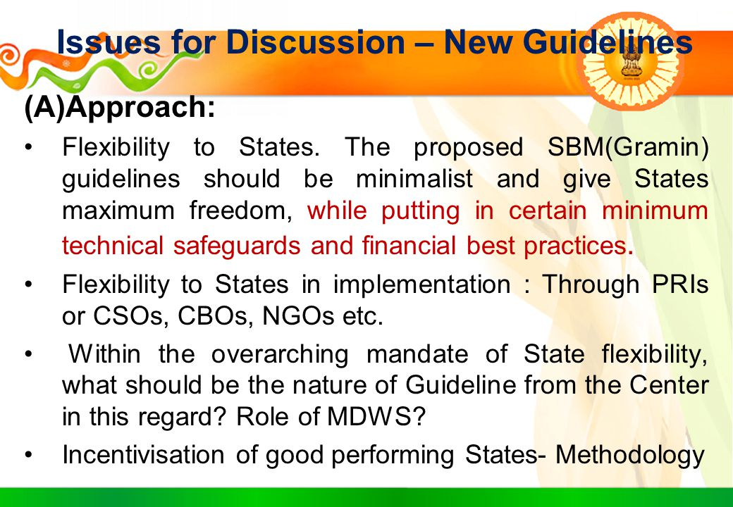 Issues for Discussion – New Guidelines