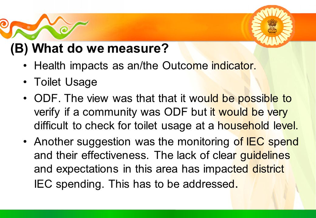 (B) What do we measure Health impacts as an/the Outcome indicator.