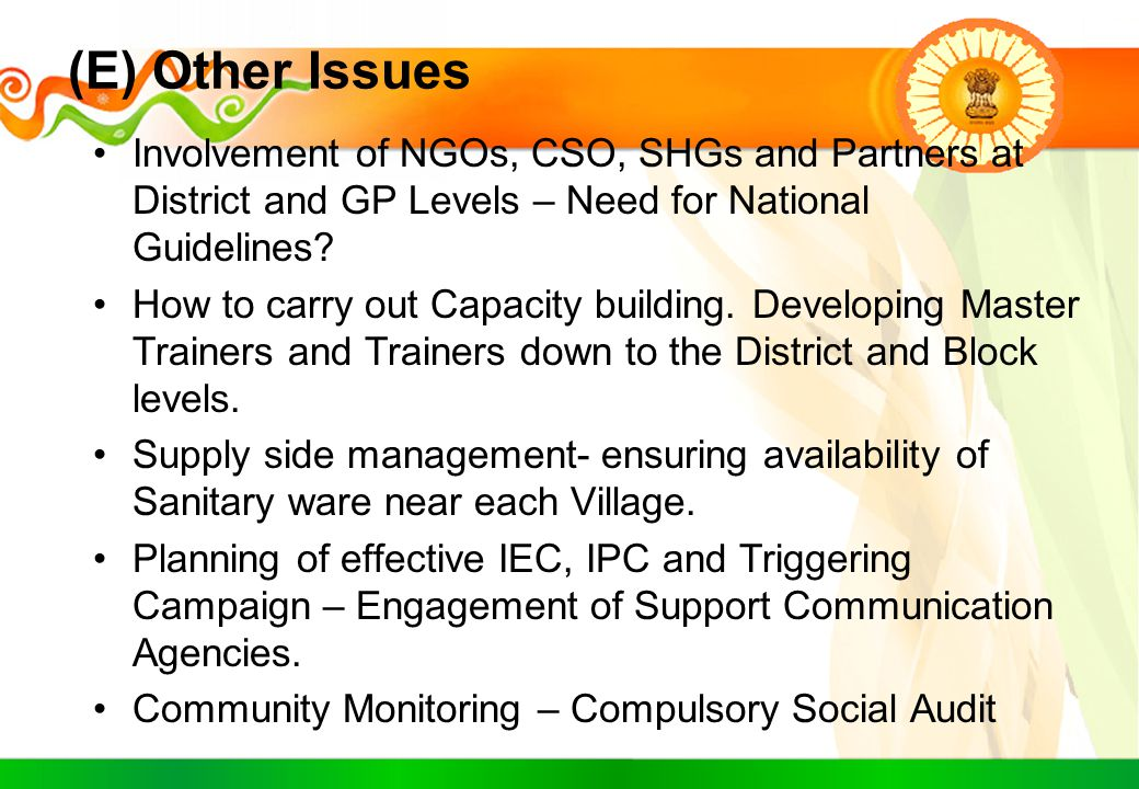 (E) Other Issues Involvement of NGOs, CSO, SHGs and Partners at District and GP Levels – Need for National Guidelines