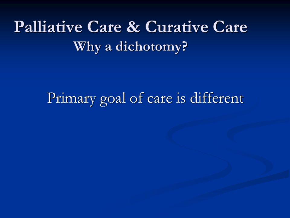 Palliative Care & Curative Care Why a dichotomy