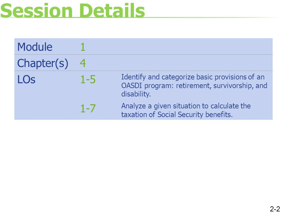 Session Details Module 1 Chapter(s) 4 LOs 1-5 1-7