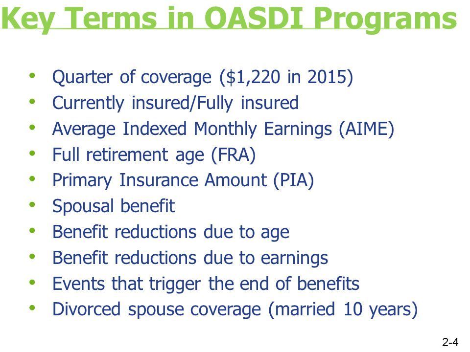 Key Terms in OASDI Programs