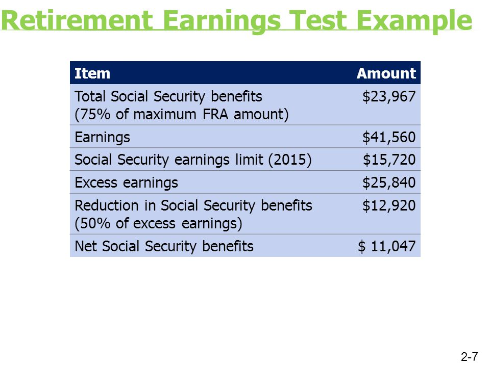 Retirement Earnings Test Example