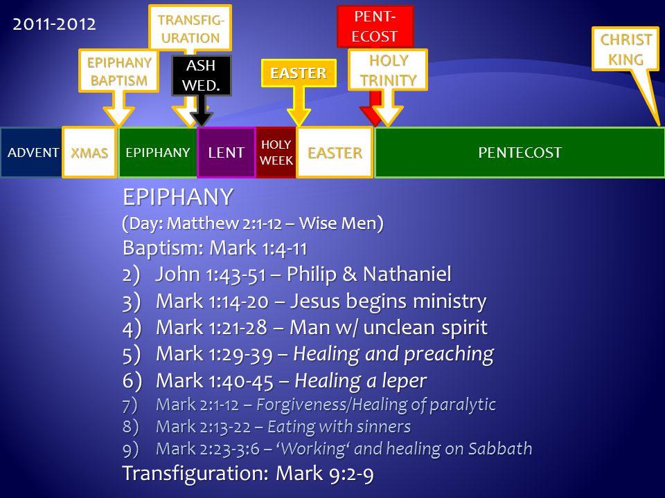 EPIPHANY 2011-2012 Baptism: Mark 1:4-11