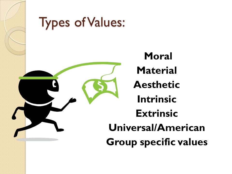 Types of Values: Moral Material Aesthetic Intrinsic Extrinsic