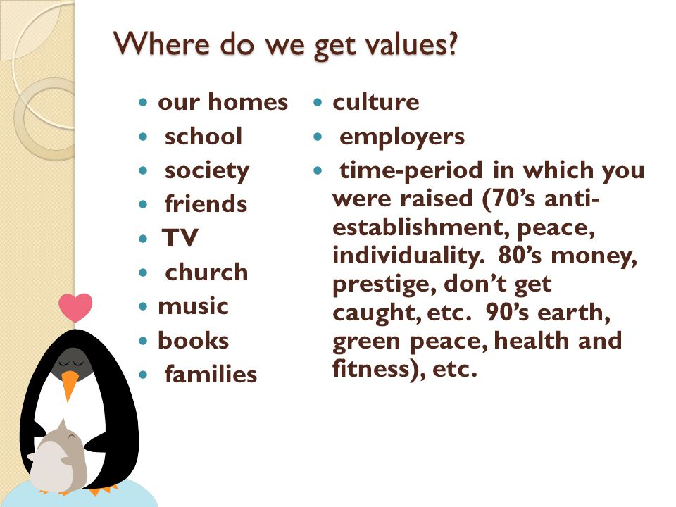 Where do we get values our homes school society friends TV church