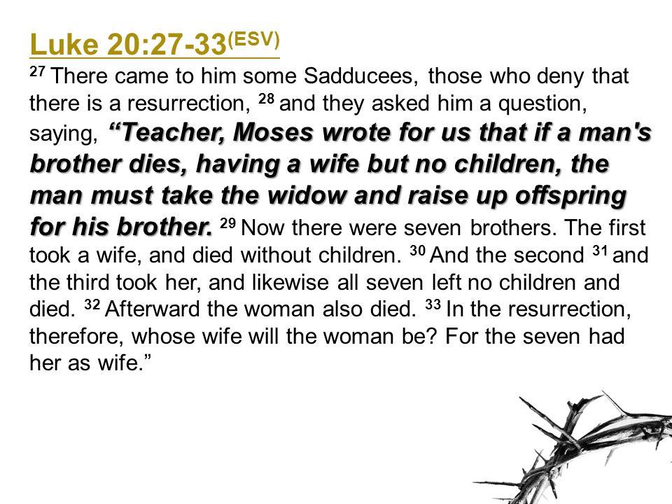 Luke 20:27-33(ESV)