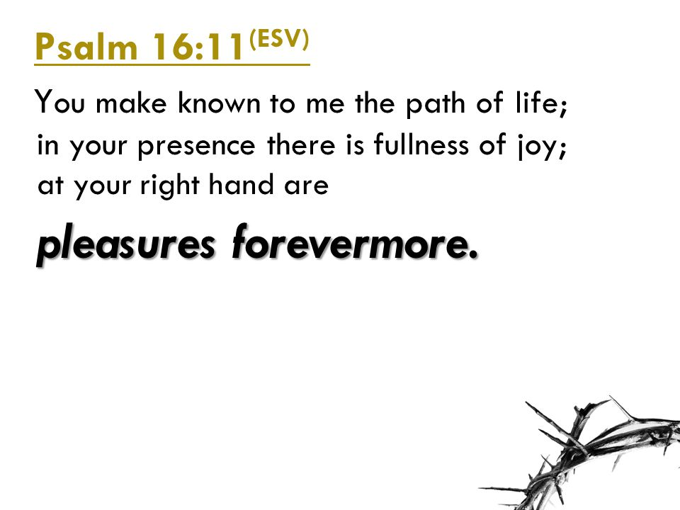 Psalm 16:11(ESV) You make known to me the path of life; in your presence there is fullness of joy; at your right hand are