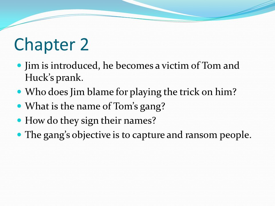 Chapter 2 Jim is introduced, he becomes a victim of Tom and Huck's prank. Who does Jim blame for playing the trick on him