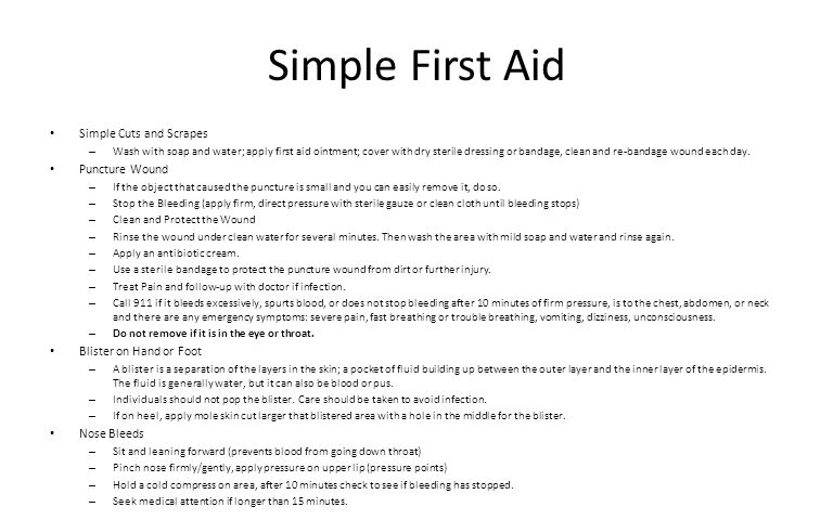 Simple First Aid Simple Cuts and Scrapes Puncture Wound