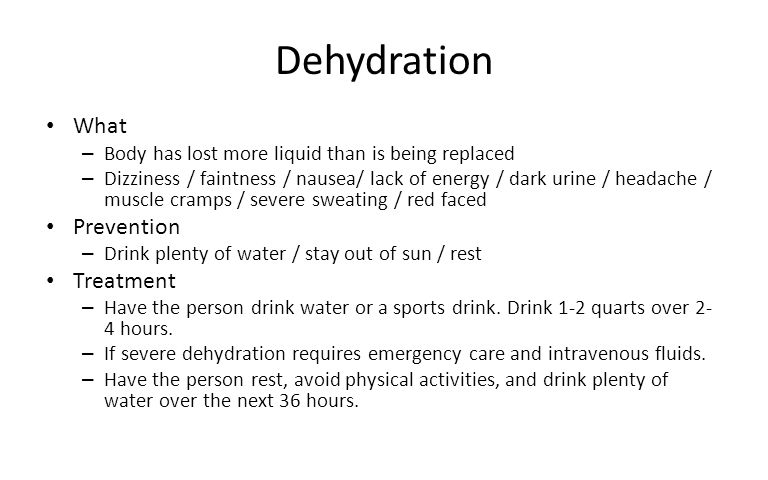 Dehydration What Prevention Treatment