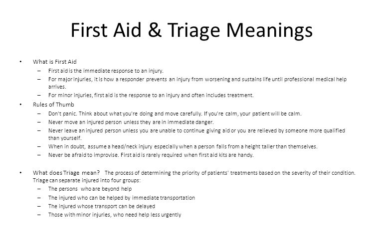 First Aid & Triage Meanings