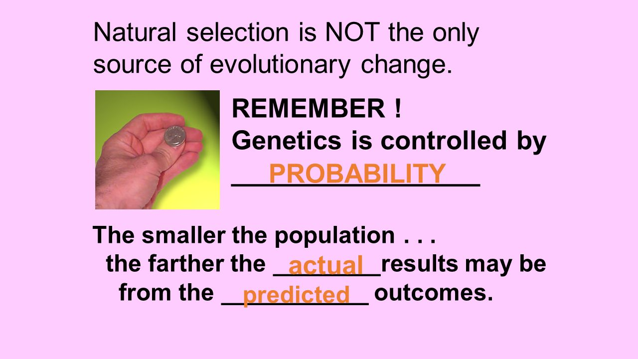 Natural selection is NOT the only source of evolutionary change.