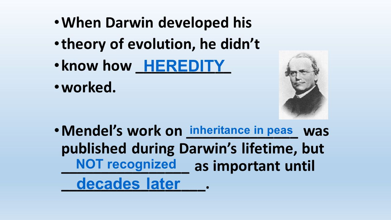 When Darwin developed his theory of evolution, he didn't