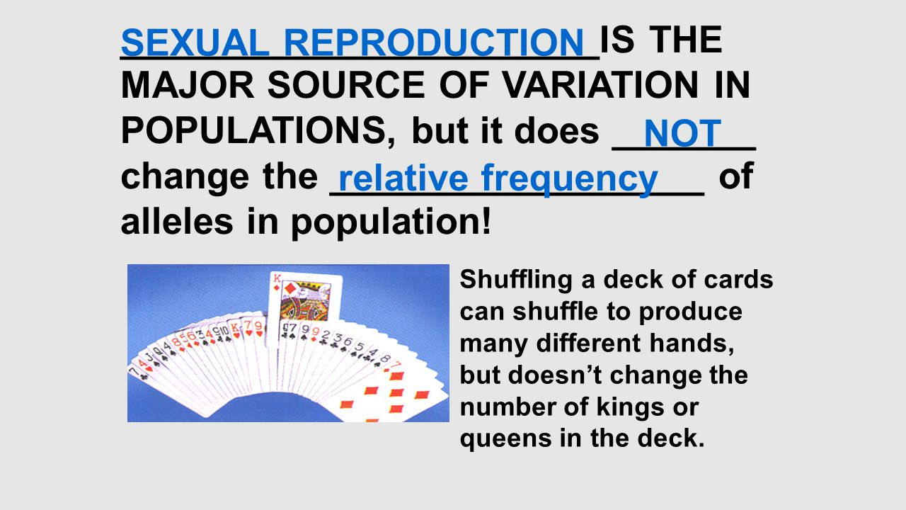 change the __________________ of alleles in population! NOT
