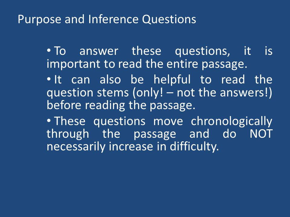 Purpose and Inference Questions