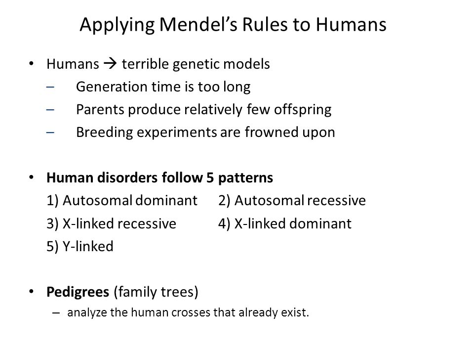 Applying Mendel's Rules to Humans