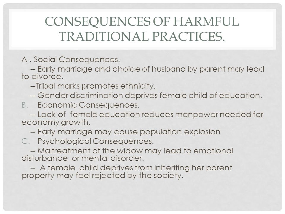 Consequences of Harmful Traditional Practices.