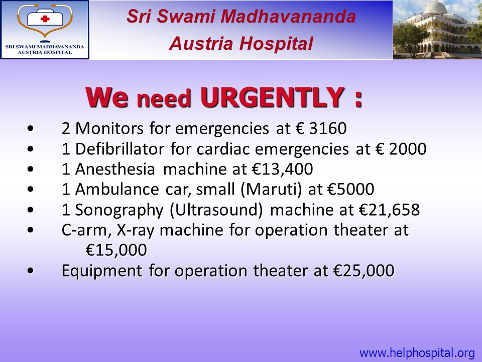 We need URGENTLY : 2 Monitors for emergencies at € 3160