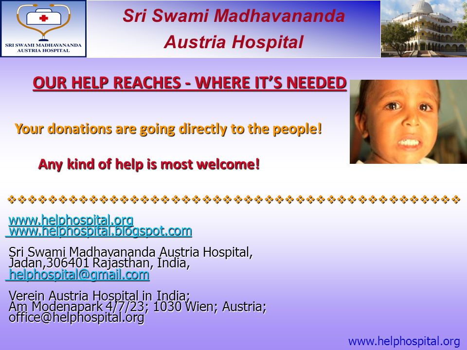 OUR HELP REACHES - WHERE IT'S NEEDED
