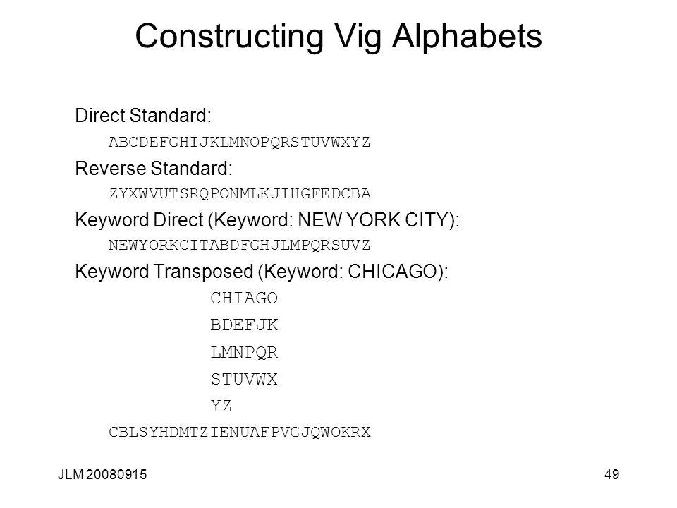 Constructing Vig Alphabets