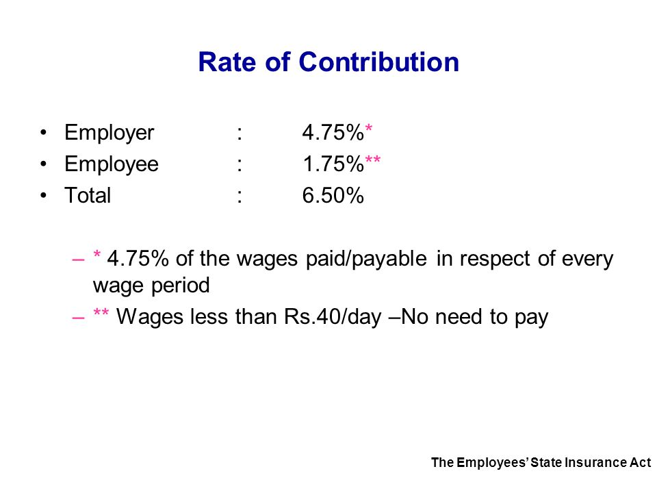Rate of Contribution Employer : 4.75%* Employee : 1.75%**