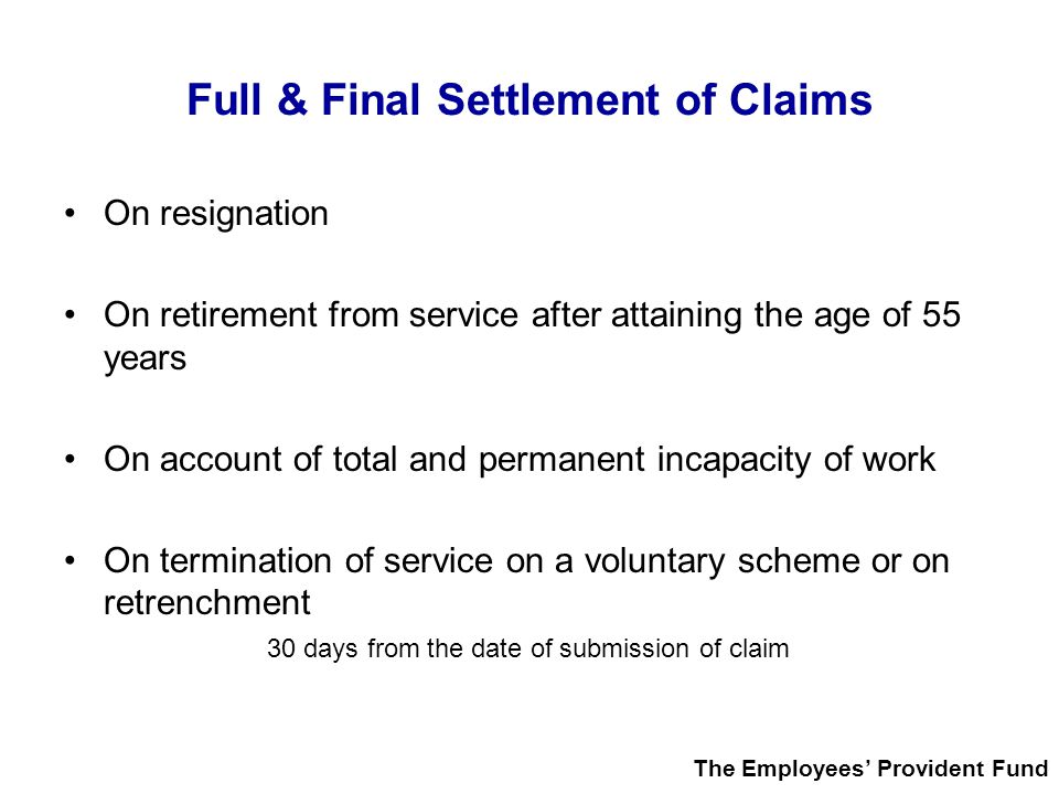 Full & Final Settlement of Claims