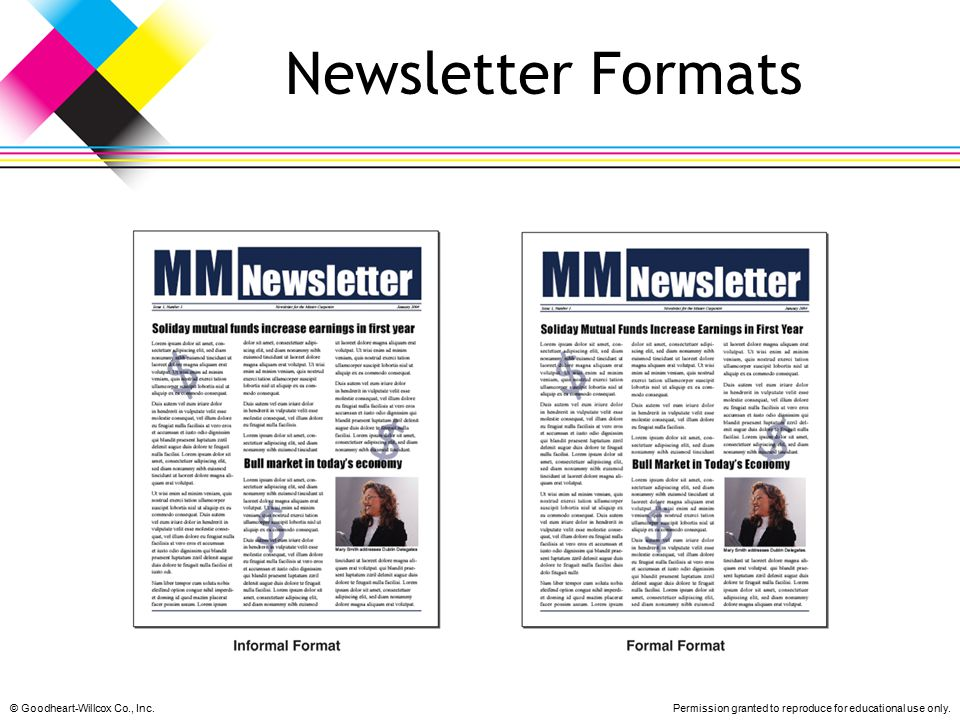 Newsletter Formats © Goodheart-Willcox Co., Inc.