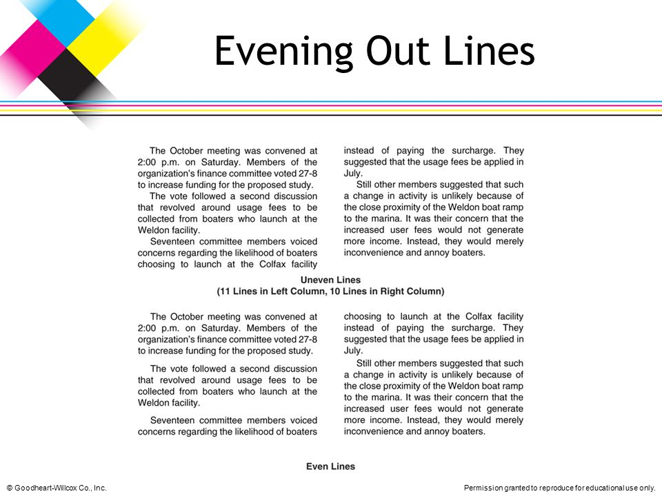 Evening Out Lines © Goodheart-Willcox Co., Inc.