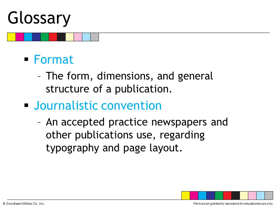 Glossary Format Journalistic convention