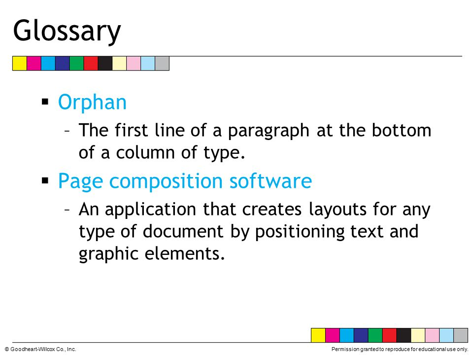 Glossary Orphan Page composition software