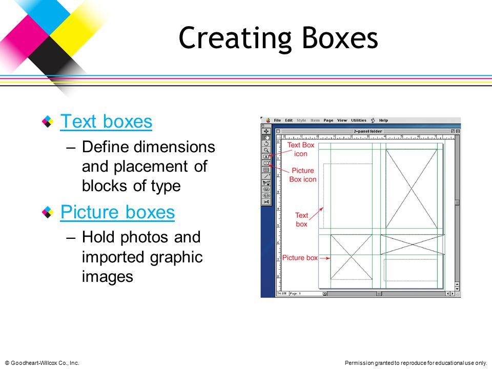 Creating Boxes Text boxes Picture boxes