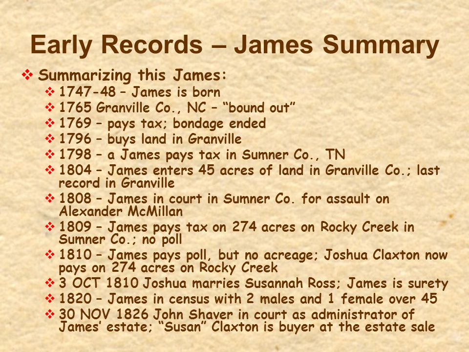 Early Records – James Summary