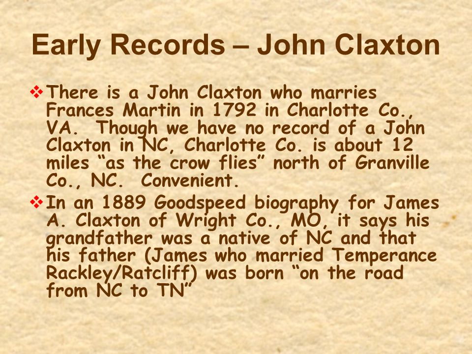 Early Records – John Claxton