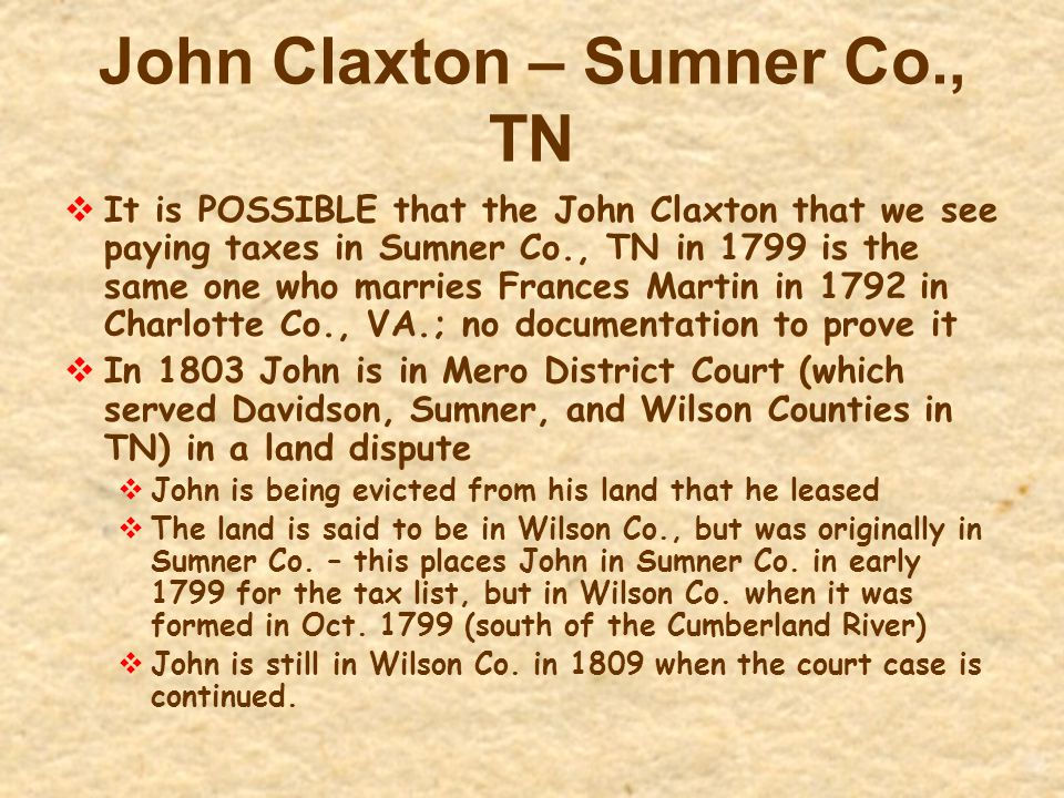 John Claxton – Sumner Co., TN