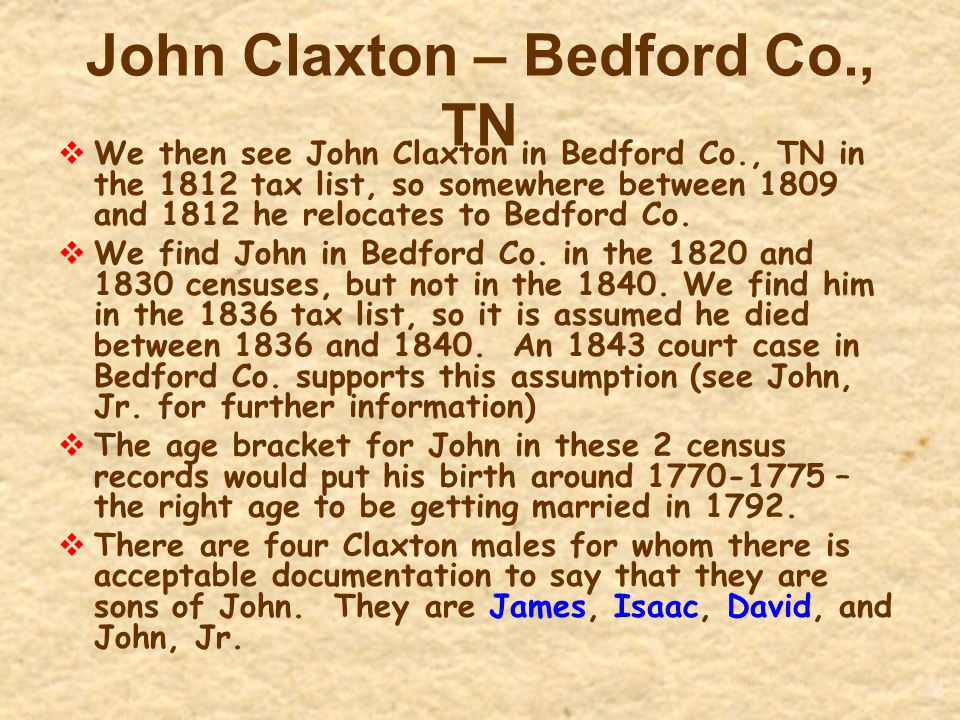 John Claxton – Bedford Co., TN