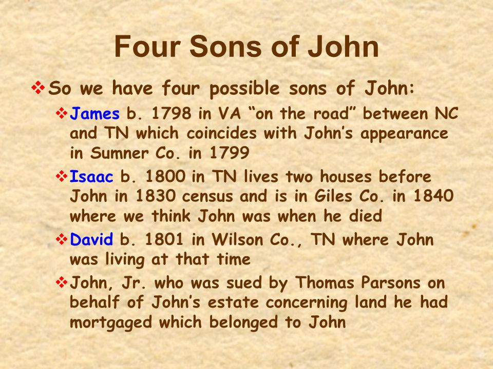 Four Sons of John So we have four possible sons of John: