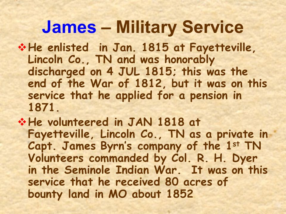 James – Military Service