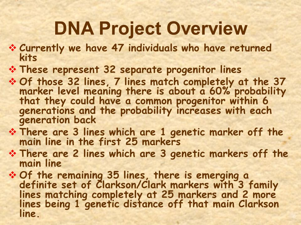 DNA Project Overview Currently we have 47 individuals who have returned kits. These represent 32 separate progenitor lines.