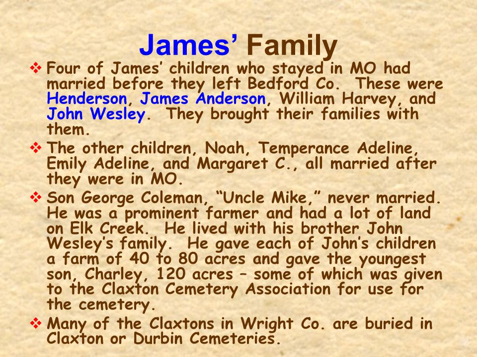 James' Family