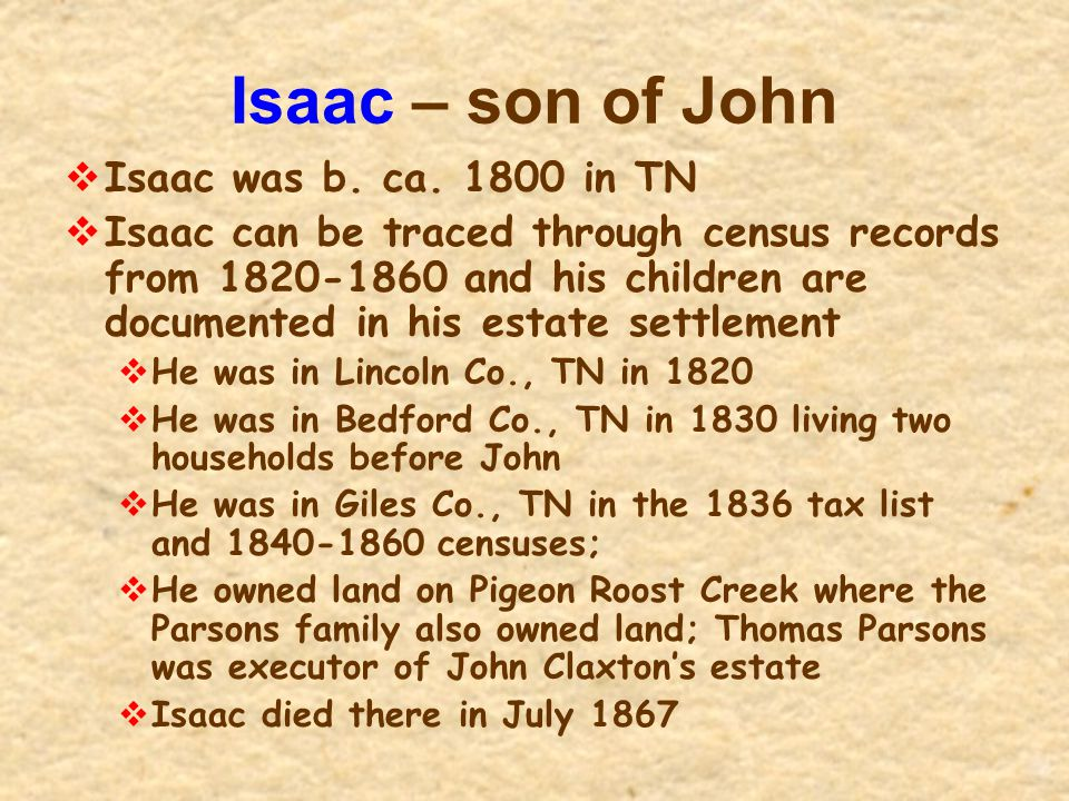 Isaac – son of John Isaac was b. ca. 1800 in TN