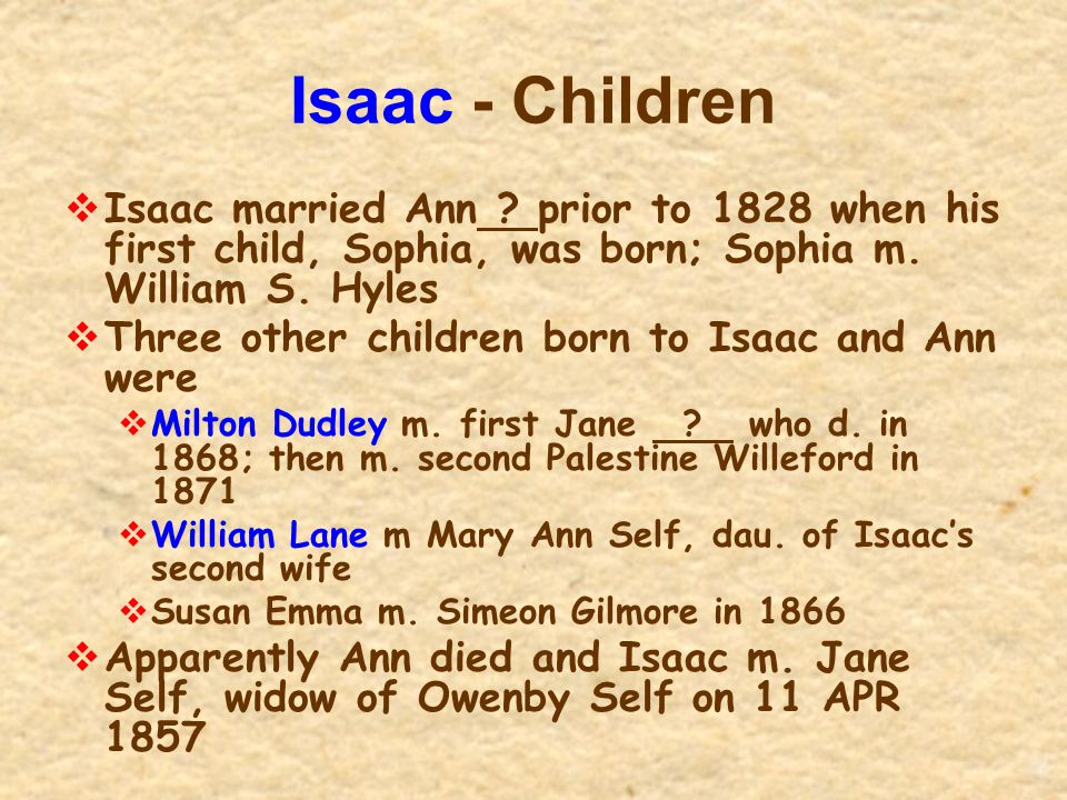 Isaac - Children Isaac married Ann prior to 1828 when his first child, Sophia, was born; Sophia m. William S. Hyles.