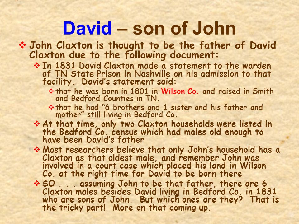 David – son of John John Claxton is thought to be the father of David Claxton due to the following document: