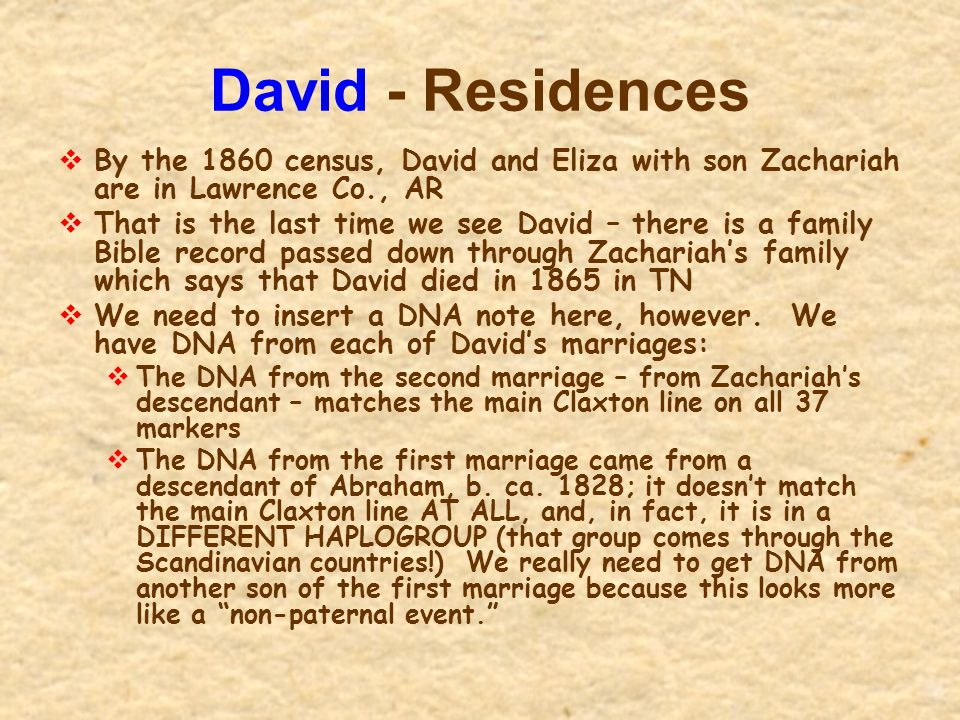 David - Residences By the 1860 census, David and Eliza with son Zachariah are in Lawrence Co., AR.