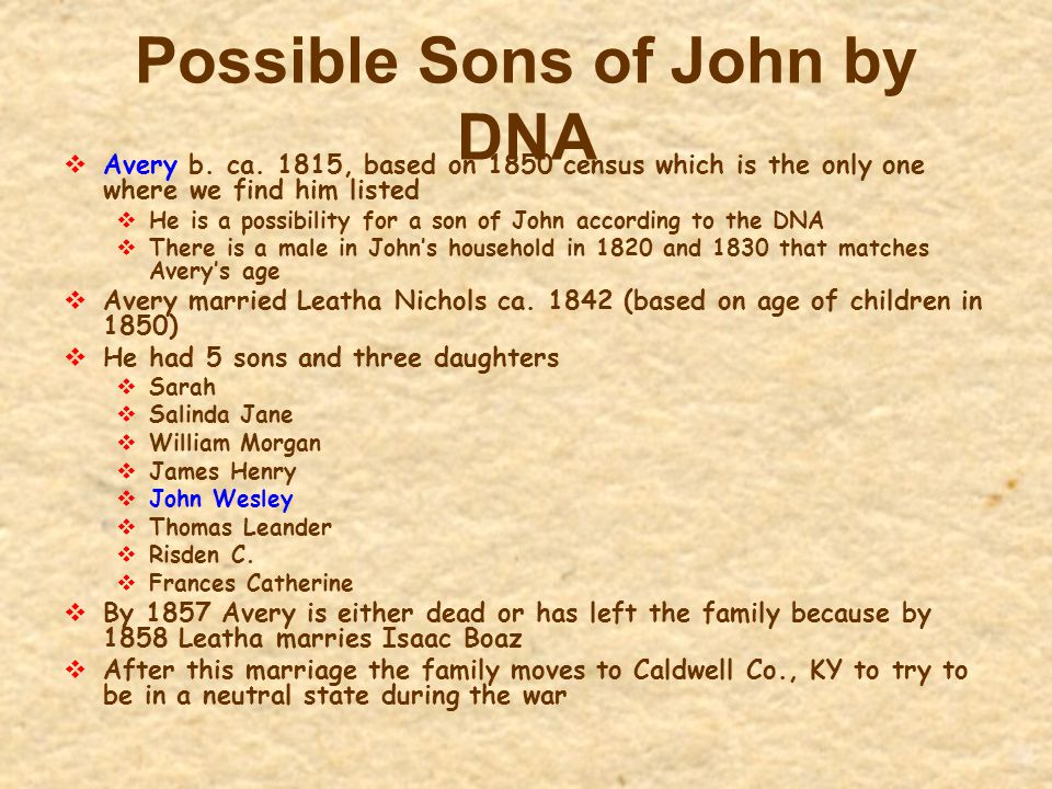 Possible Sons of John by DNA